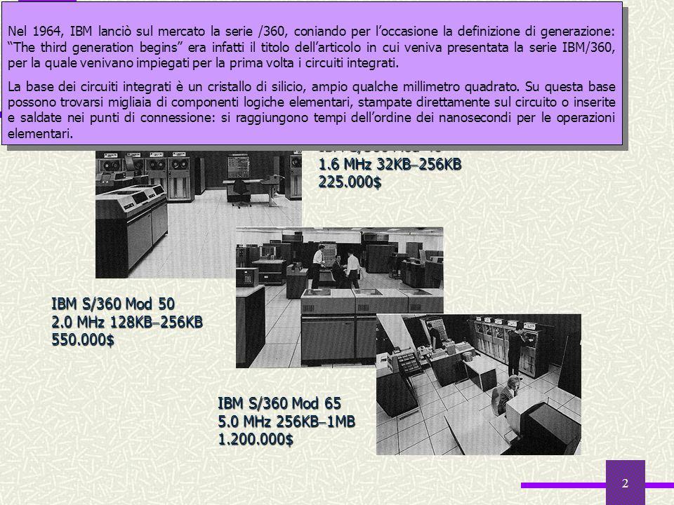 2 Il mercato informatico nel 1964 IBM S/360 Mod 40 1.6 MHz 32KB 256KB 225.000$ IBM S/360 Mod 50 2.0 MHz 128KB 256KB 550.000$ IBM S/360 Mod 65 5.0 MHz