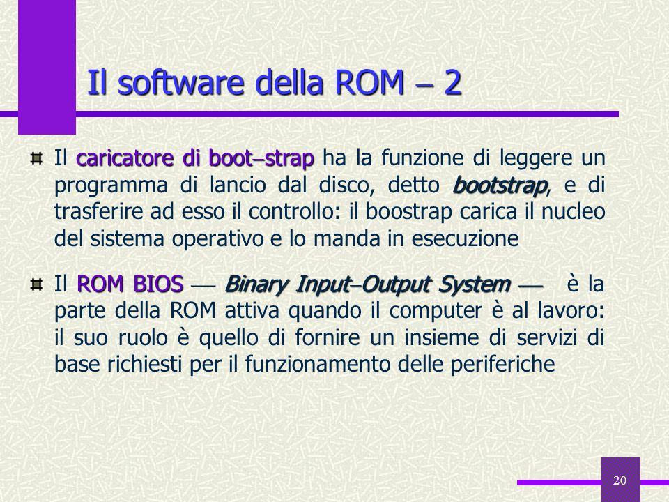 20 Il software della ROM 2 caricatore di boot strap bootstrap Il caricatore di boot strap ha la funzione di leggere un programma di lancio dal disco,