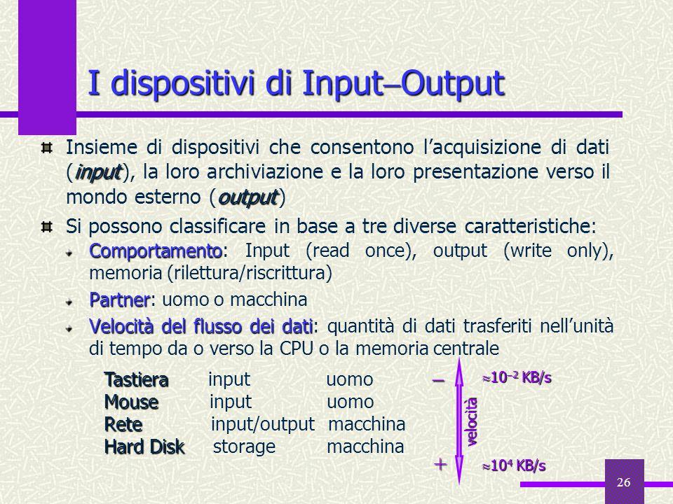 26 I dispositivi di Input Output Comportamento Comportamento: Input (read once), output (write only), memoria (rilettura/riscrittura) Partner Partner: