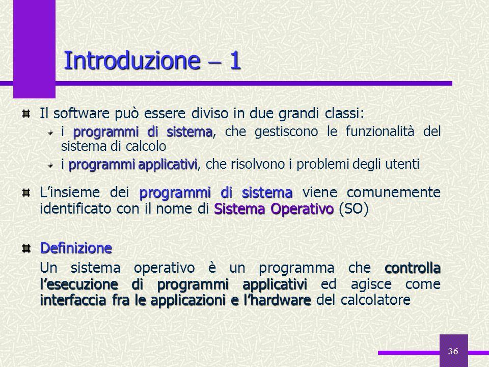 36 Introduzione 1 Il software può essere diviso in due grandi classi: programmi di sistema i programmi di sistema, che gestiscono le funzionalità del