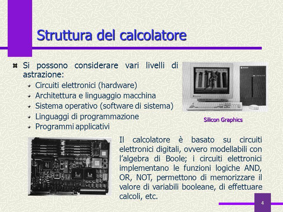 4 Struttura del calcolatore Si possono considerare vari livelli di astrazione: Circuiti elettronici (hardware) Architettura e linguaggio macchina Sist