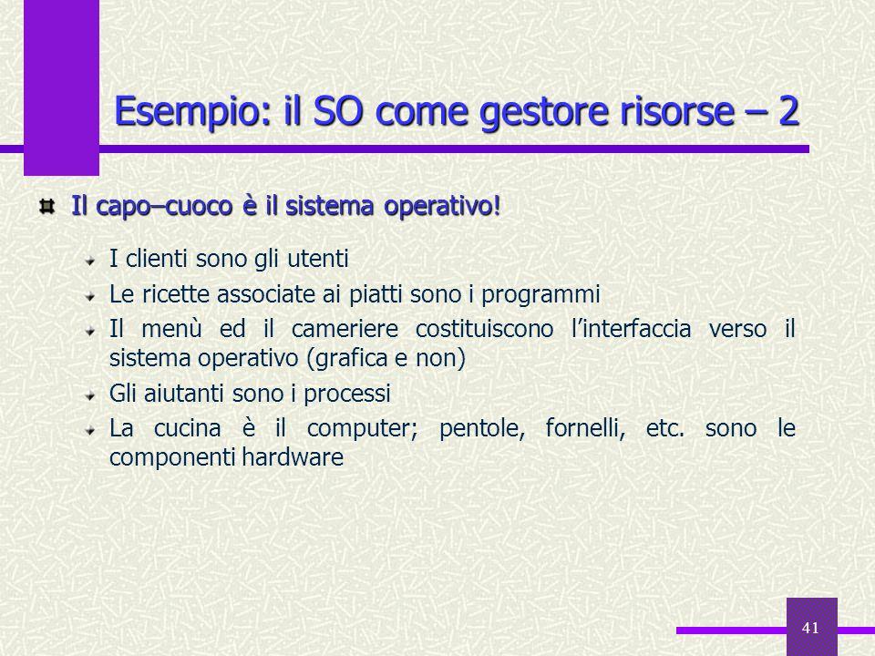 41 Esempio: il SO come gestore risorse – 2 Il capo–cuoco è il sistema operativo! I clienti sono gli utenti Le ricette associate ai piatti sono i progr