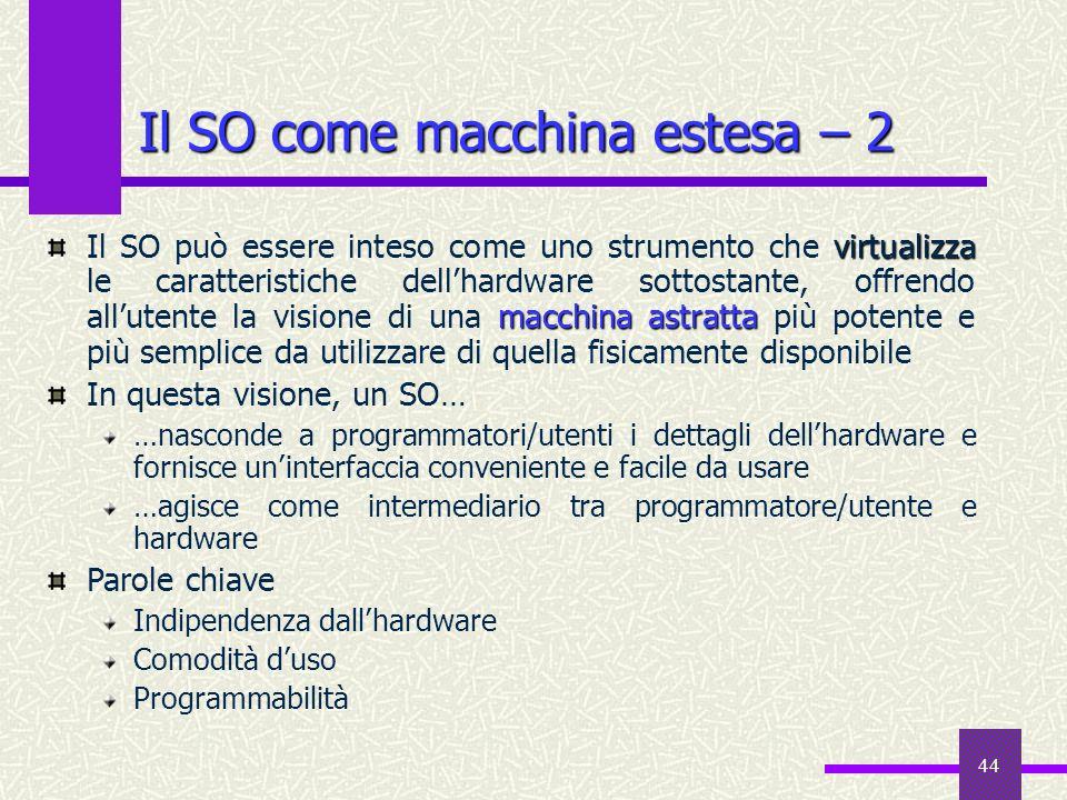 44 Il SO come macchina estesa – 2 virtualizza macchina astratta Il SO può essere inteso come uno strumento che virtualizza le caratteristiche dellhard