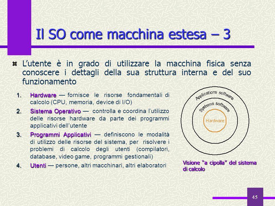 45 Il SO come macchina estesa – 3 Lutente è in grado di utilizzare la macchina fisica senza conoscere i dettagli della sua struttura interna e del suo
