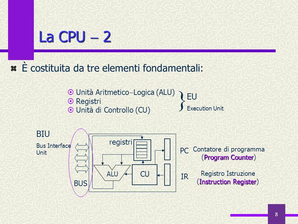 8 La CPU 2 È costituita da tre elementi fondamentali: Unità Aritmetico Logica (ALU) Registri Unità di Controllo (CU) EU Execution Unit } ALU CU PC IR