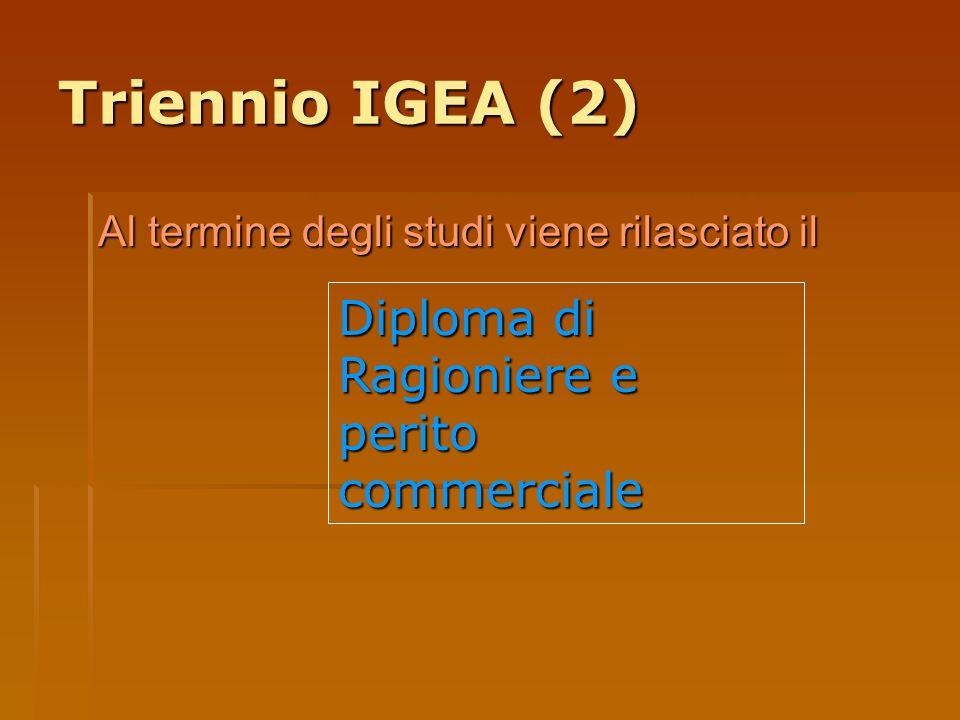 Triennio IGEA (2) Al termine degli studi viene rilasciato il Diploma di Ragioniere e perito commerciale