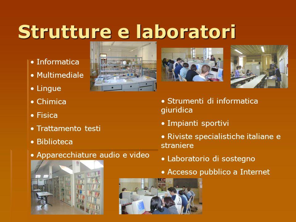 Strutture e laboratori Informatica Multimediale Lingue Chimica Fisica Trattamento testi Biblioteca Apparecchiature audio e video Strumenti di informat