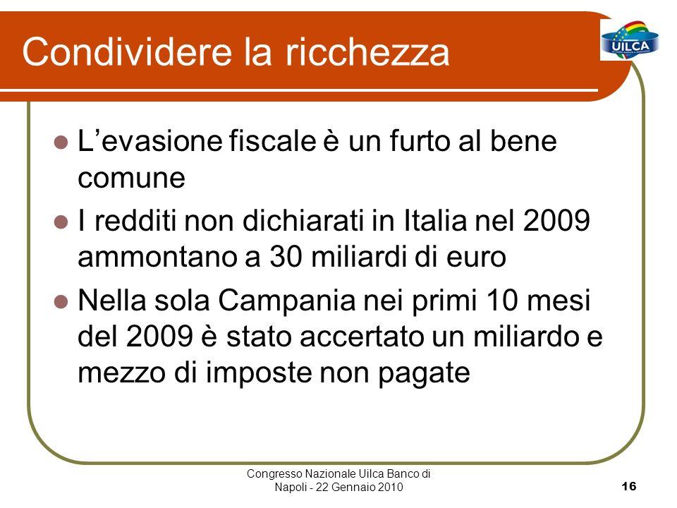 Congresso Nazionale Uilca Banco di Napoli - 22 Gennaio 201016 Condividere la ricchezza Levasione fiscale è un furto al bene comune I redditi non dichiarati in Italia nel 2009 ammontano a 30 miliardi di euro Nella sola Campania nei primi 10 mesi del 2009 è stato accertato un miliardo e mezzo di imposte non pagate