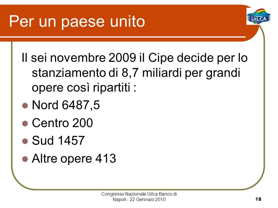 Congresso Nazionale Uilca Banco di Napoli - 22 Gennaio 201018 Per un paese unito Il sei novembre 2009 il Cipe decide per lo stanziamento di 8,7 miliar