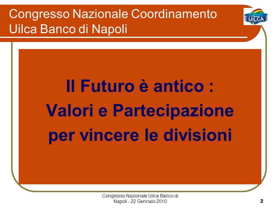 Congresso Nazionale Uilca Banco di Napoli - 22 Gennaio 20102 Congresso Nazionale Coordinamento Uilca Banco di Napoli Il Futuro è antico : Valori e Partecipazione per vincere le divisioni