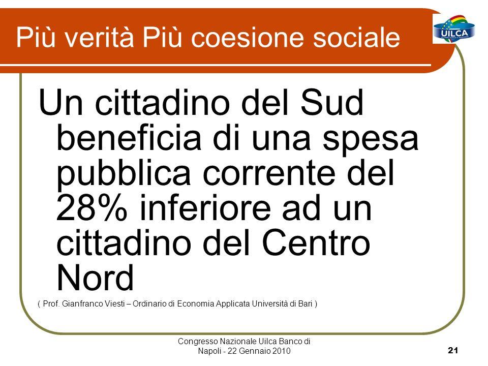 Congresso Nazionale Uilca Banco di Napoli - 22 Gennaio 201021 Più verità Più coesione sociale Un cittadino del Sud beneficia di una spesa pubblica corrente del 28% inferiore ad un cittadino del Centro Nord ( Prof.