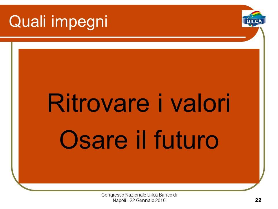 Congresso Nazionale Uilca Banco di Napoli - 22 Gennaio 201022 Quali impegni Ritrovare i valori Osare il futuro