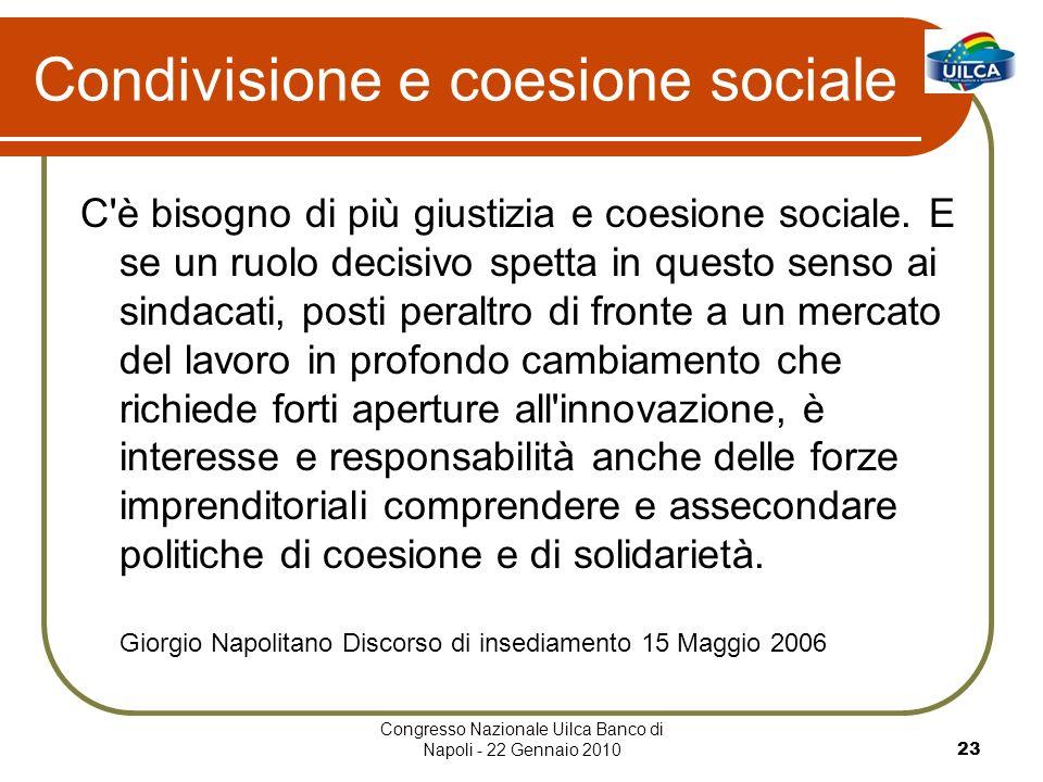 Congresso Nazionale Uilca Banco di Napoli - 22 Gennaio 201023 Condivisione e coesione sociale C è bisogno di più giustizia e coesione sociale.