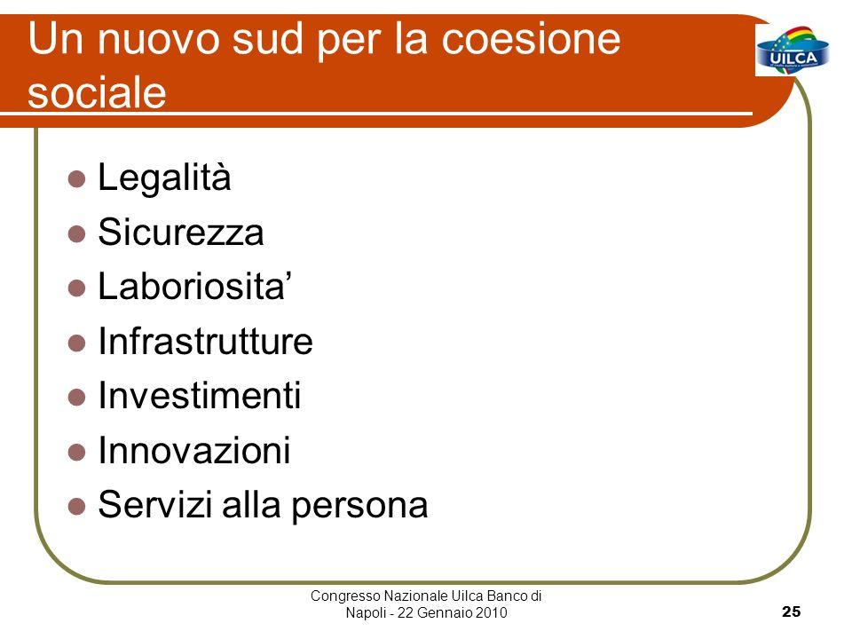 Congresso Nazionale Uilca Banco di Napoli - 22 Gennaio 201025 Un nuovo sud per la coesione sociale Legalità Sicurezza Laboriosita Infrastrutture Investimenti Innovazioni Servizi alla persona