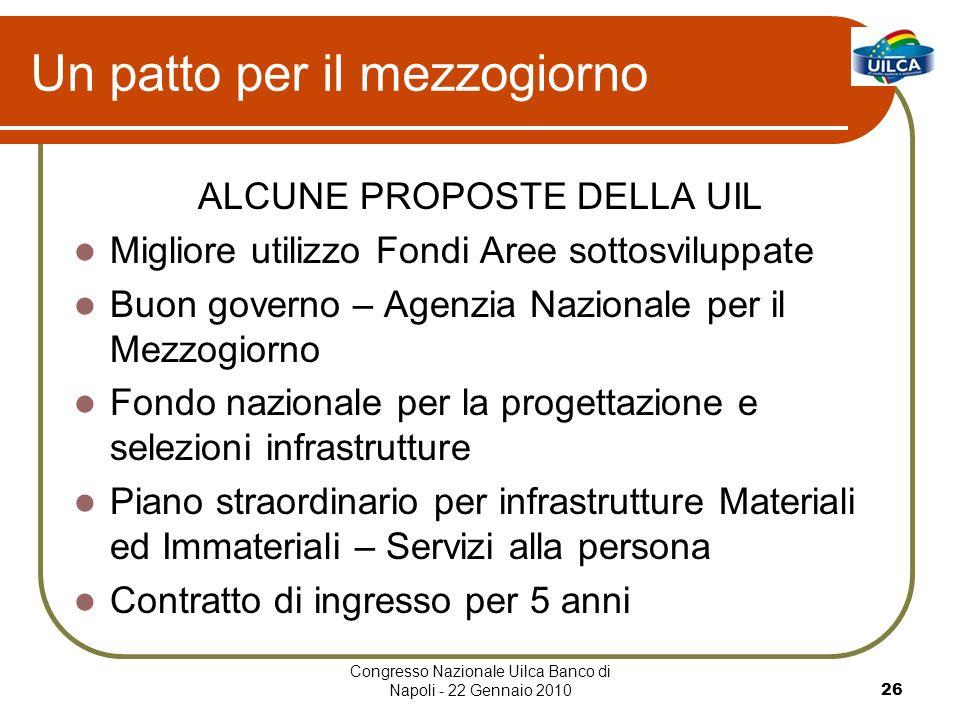 Congresso Nazionale Uilca Banco di Napoli - 22 Gennaio 201026 Un patto per il mezzogiorno ALCUNE PROPOSTE DELLA UIL Migliore utilizzo Fondi Aree sotto