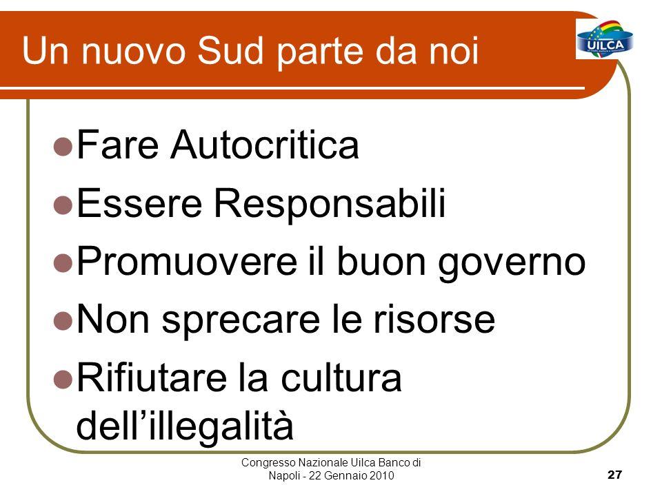 Congresso Nazionale Uilca Banco di Napoli - 22 Gennaio 201027 Un nuovo Sud parte da noi Fare Autocritica Essere Responsabili Promuovere il buon govern