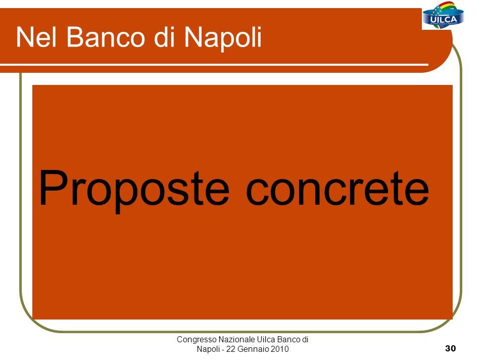 Congresso Nazionale Uilca Banco di Napoli - 22 Gennaio 201030 Nel Banco di Napoli Proposte concrete