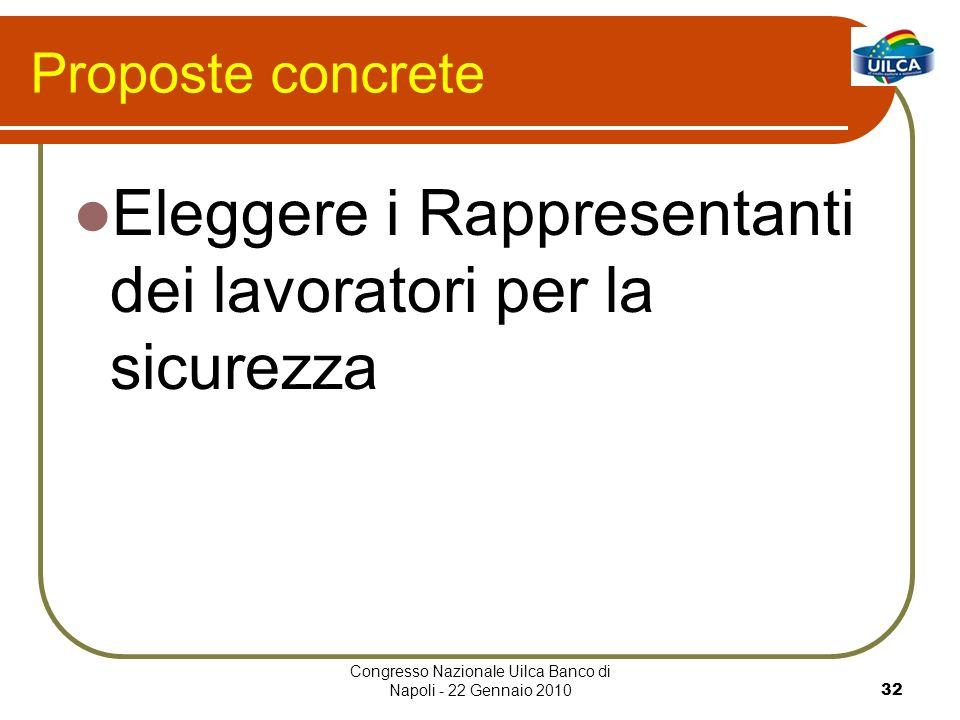 Congresso Nazionale Uilca Banco di Napoli - 22 Gennaio 201032 Proposte concrete Eleggere i Rappresentanti dei lavoratori per la sicurezza