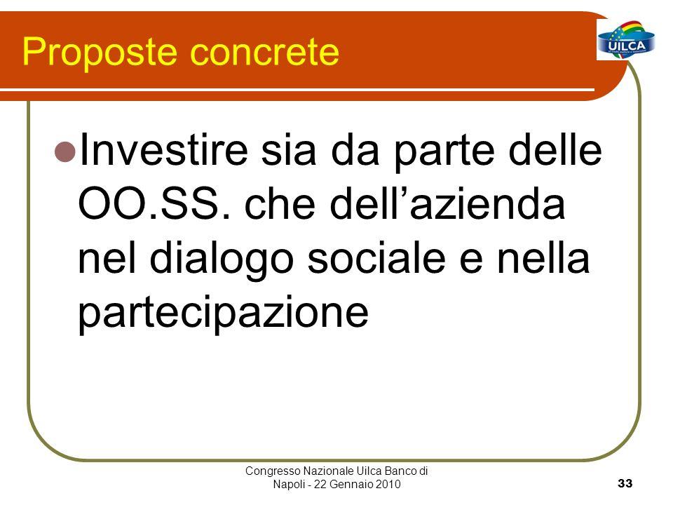 Congresso Nazionale Uilca Banco di Napoli - 22 Gennaio 201033 Proposte concrete Investire sia da parte delle OO.SS. che dellazienda nel dialogo social