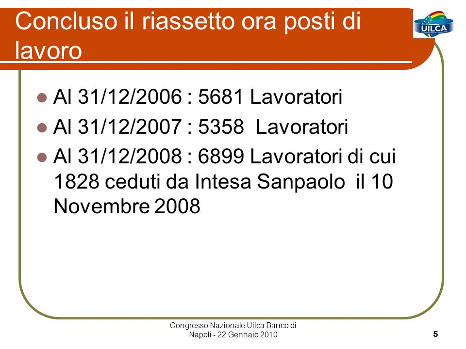 Congresso Nazionale Uilca Banco di Napoli - 22 Gennaio 20105 Concluso il riassetto ora posti di lavoro Al 31/12/2006 : 5681 Lavoratori Al 31/12/2007 : 5358 Lavoratori Al 31/12/2008 : 6899 Lavoratori di cui 1828 ceduti da Intesa Sanpaolo il 10 Novembre 2008