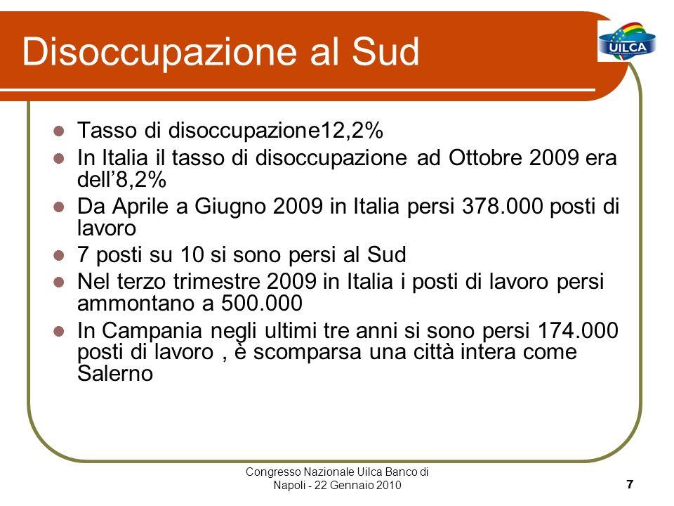 Congresso Nazionale Uilca Banco di Napoli - 22 Gennaio 20107 Disoccupazione al Sud Tasso di disoccupazione12,2% In Italia il tasso di disoccupazione ad Ottobre 2009 era dell8,2% Da Aprile a Giugno 2009 in Italia persi 378.000 posti di lavoro 7 posti su 10 si sono persi al Sud Nel terzo trimestre 2009 in Italia i posti di lavoro persi ammontano a 500.000 In Campania negli ultimi tre anni si sono persi 174.000 posti di lavoro, è scomparsa una città intera come Salerno