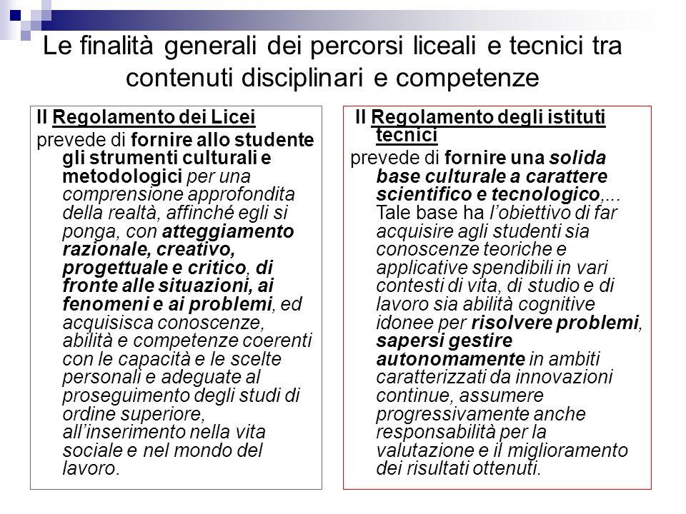Il Regolamento dei Licei prevede di fornire allo studente gli strumenti culturali e metodologici per una comprensione approfondita della realtà, affin