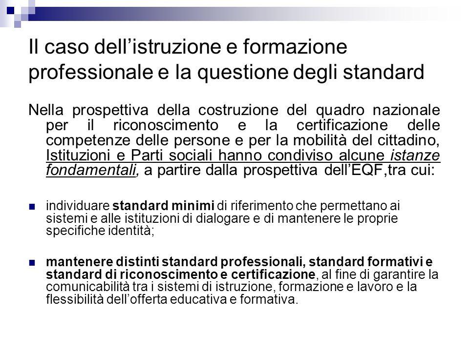 Il caso dellistruzione e formazione professionale e la questione degli standard Nella prospettiva della costruzione del quadro nazionale per il ricono