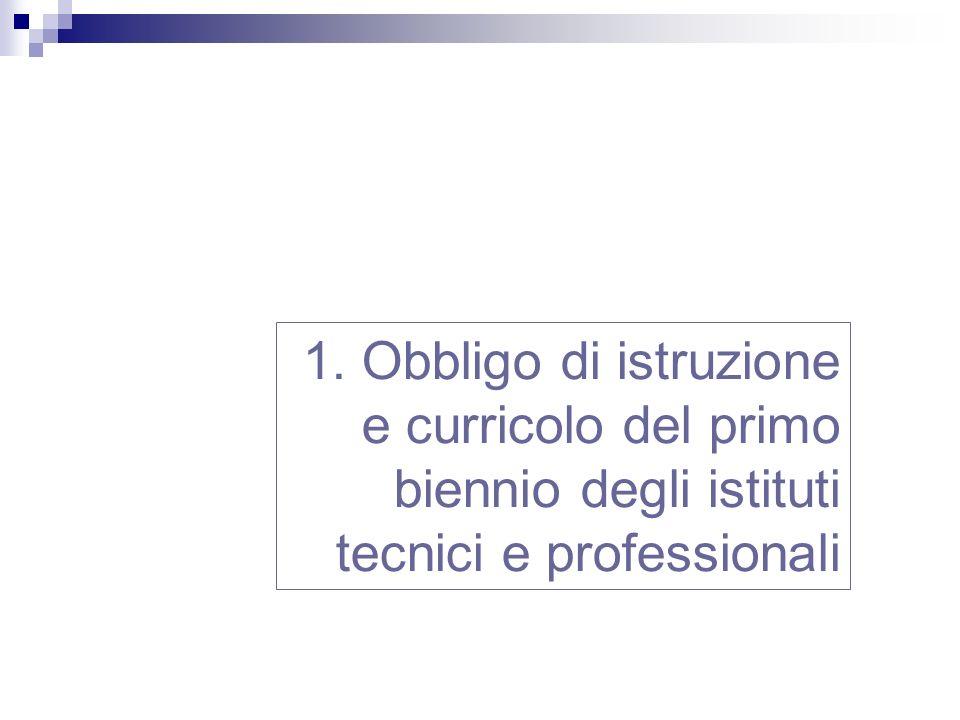1. Obbligo di istruzione e curricolo del primo biennio degli istituti tecnici e professionali