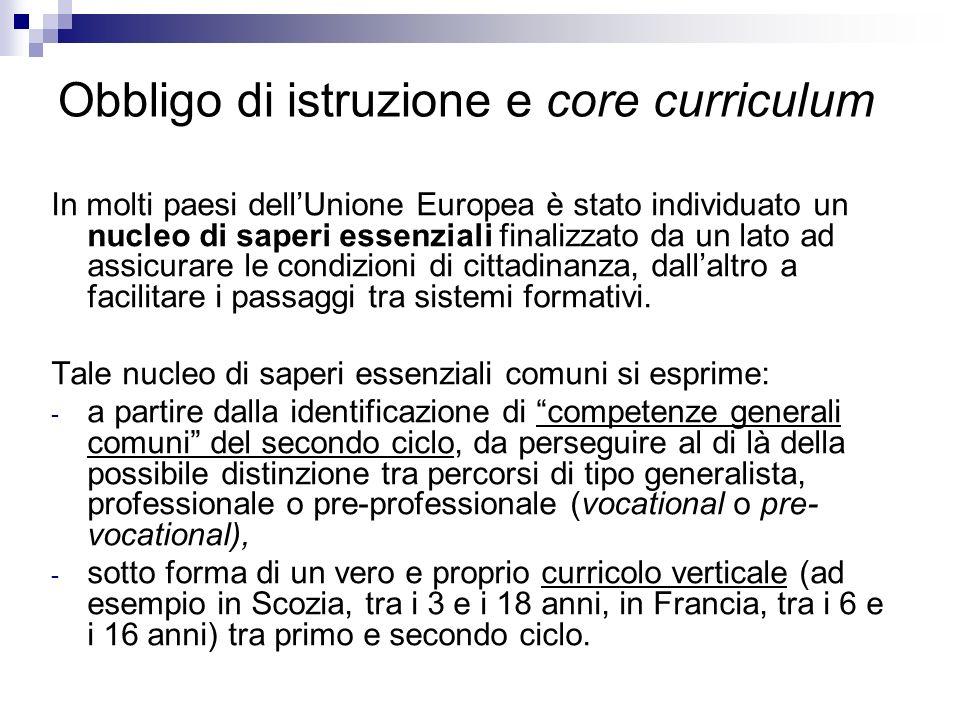 Obbligo di istruzione e core curriculum In molti paesi dellUnione Europea è stato individuato un nucleo di saperi essenziali finalizzato da un lato ad