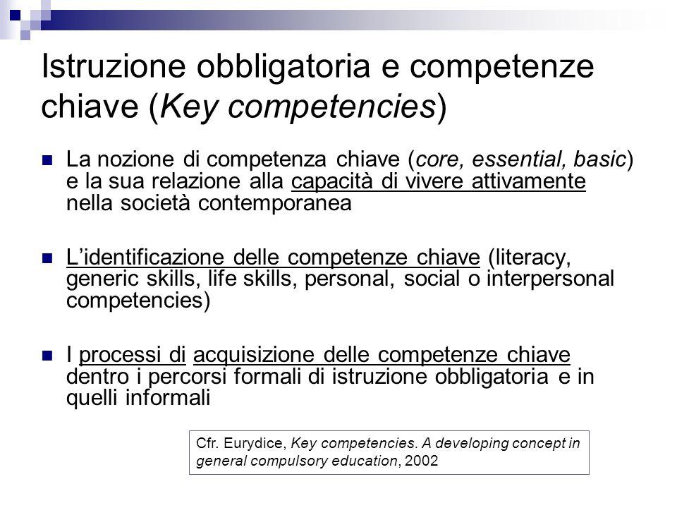 Istruzione obbligatoria e competenze chiave (Key competencies) La nozione di competenza chiave (core, essential, basic) e la sua relazione alla capaci