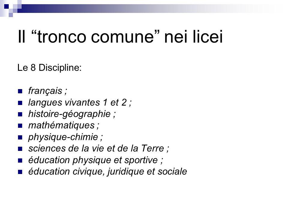 Il tronco comune nei licei Le 8 Discipline: français ; langues vivantes 1 et 2 ; histoire-géographie ; mathématiques ; physique-chimie ; sciences de l