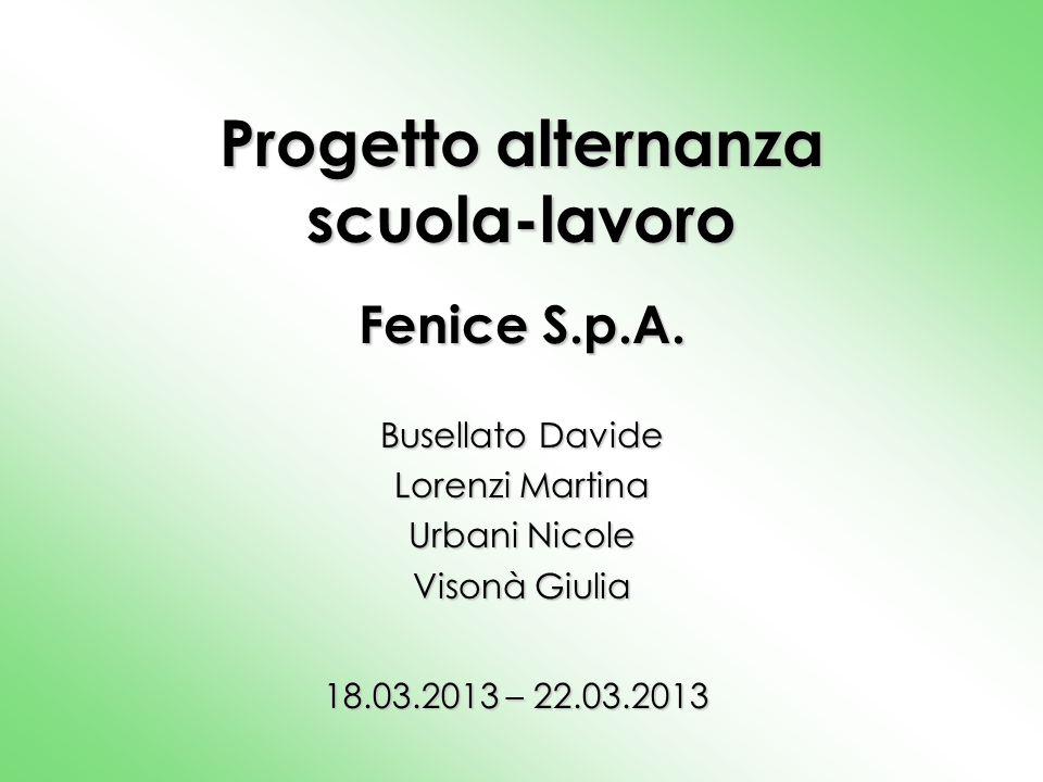 Progetto alternanza scuola-lavoro Fenice S.p.A. Busellato Davide Lorenzi Martina Urbani Nicole Visonà Giulia 18.03.2013 – 22.03.2013