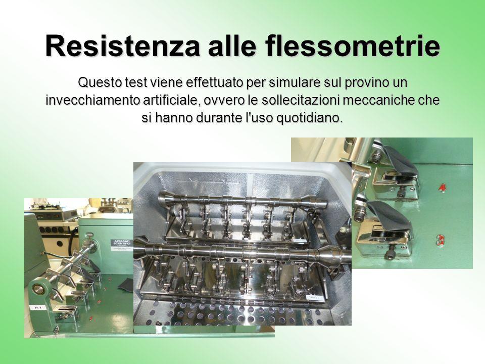 Resistenza alle flessometrie Questo test viene effettuato per simulare sul provino un invecchiamento artificiale, ovvero le sollecitazioni meccaniche