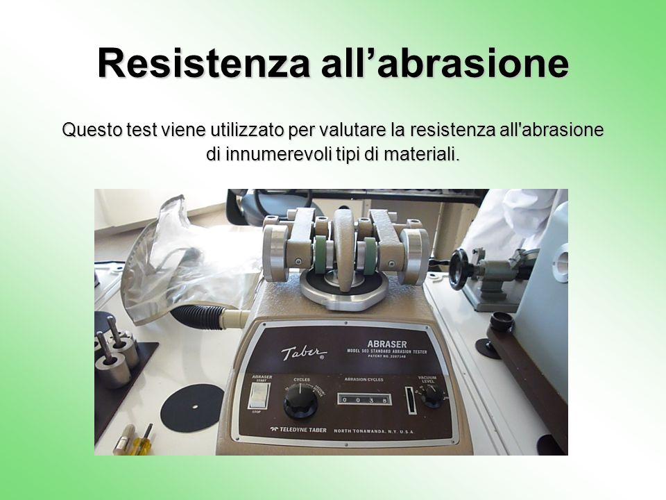 Resistenza allabrasione Questo test viene utilizzato per valutare la resistenza all'abrasione di innumerevoli tipi di materiali.