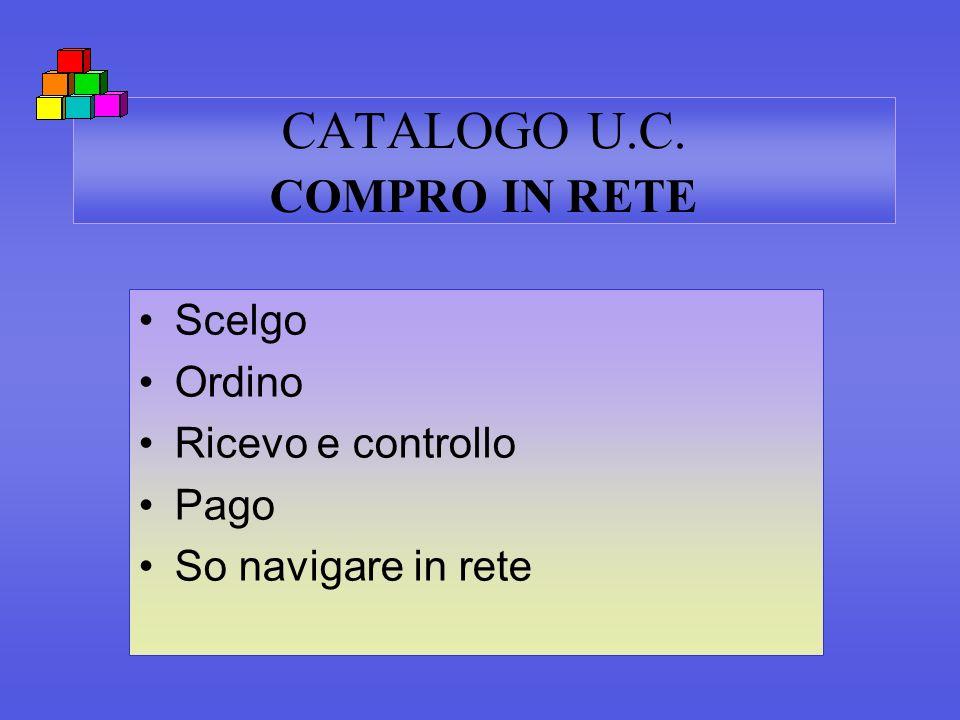 CATALOGO U.C. COMPRO IN RETE Scelgo Ordino Ricevo e controllo Pago So navigare in rete