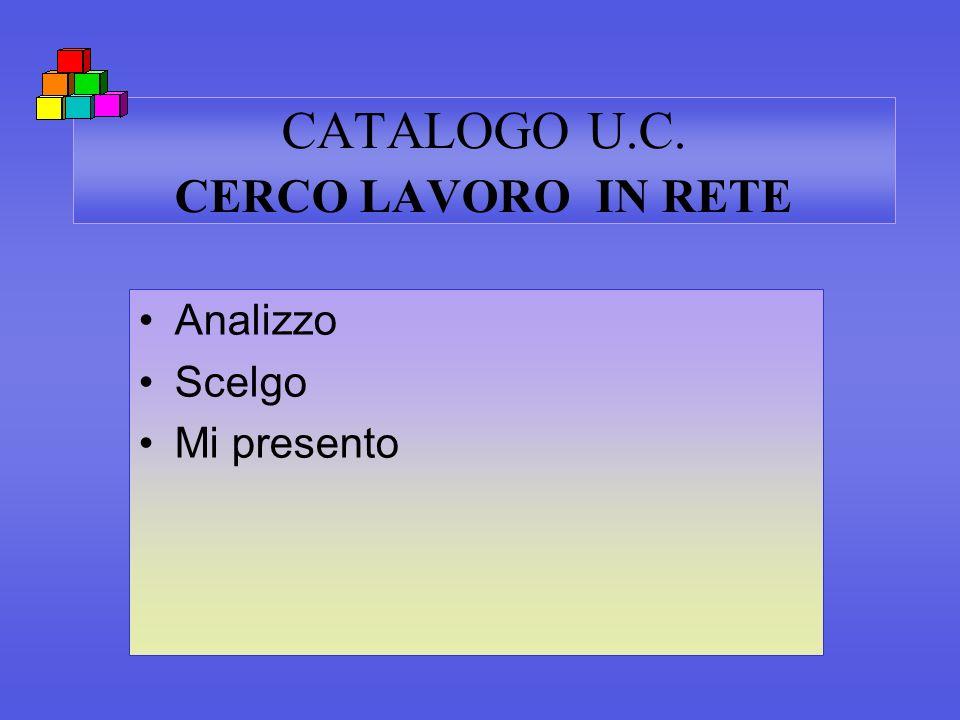 CATALOGO U.C. CERCO LAVORO IN RETE Analizzo Scelgo Mi presento