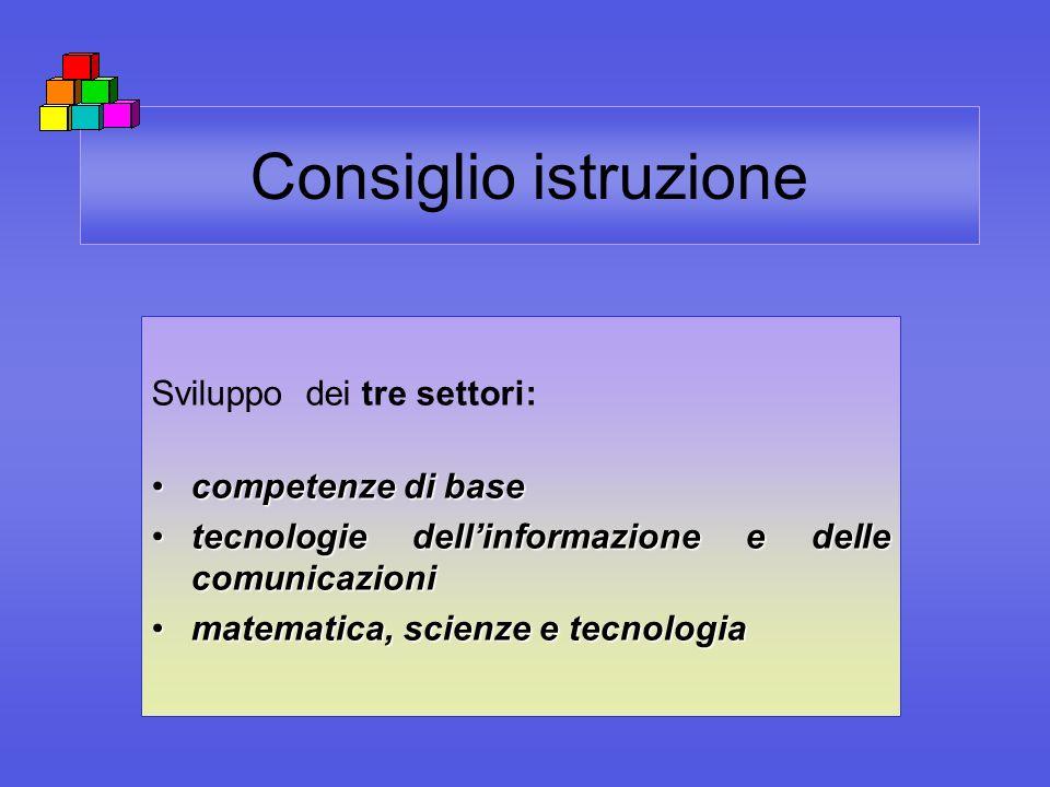 Consiglio istruzione Sviluppo dei tre settori: competenze di basecompetenze di base tecnologie dellinformazione e delle comunicazionitecnologie dellin