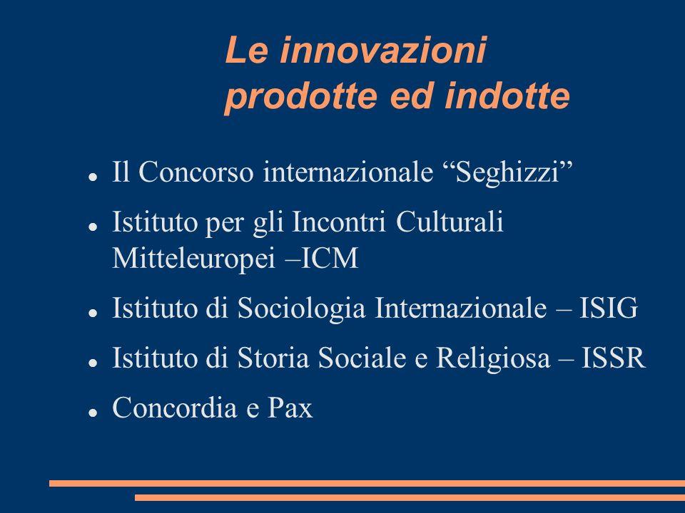 Le innovazioni prodotte ed indotte Il Concorso internazionale Seghizzi Istituto per gli Incontri Culturali Mitteleuropei –ICM Istituto di Sociologia I