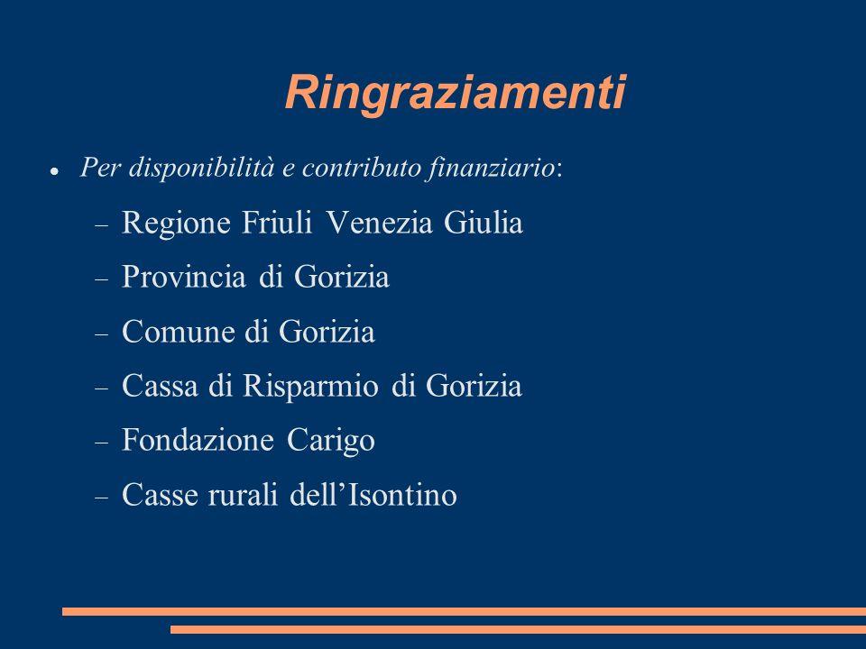 Ringraziamenti Per disponibilità e contributo finanziario: Regione Friuli Venezia Giulia Provincia di Gorizia Comune di Gorizia Cassa di Risparmio di