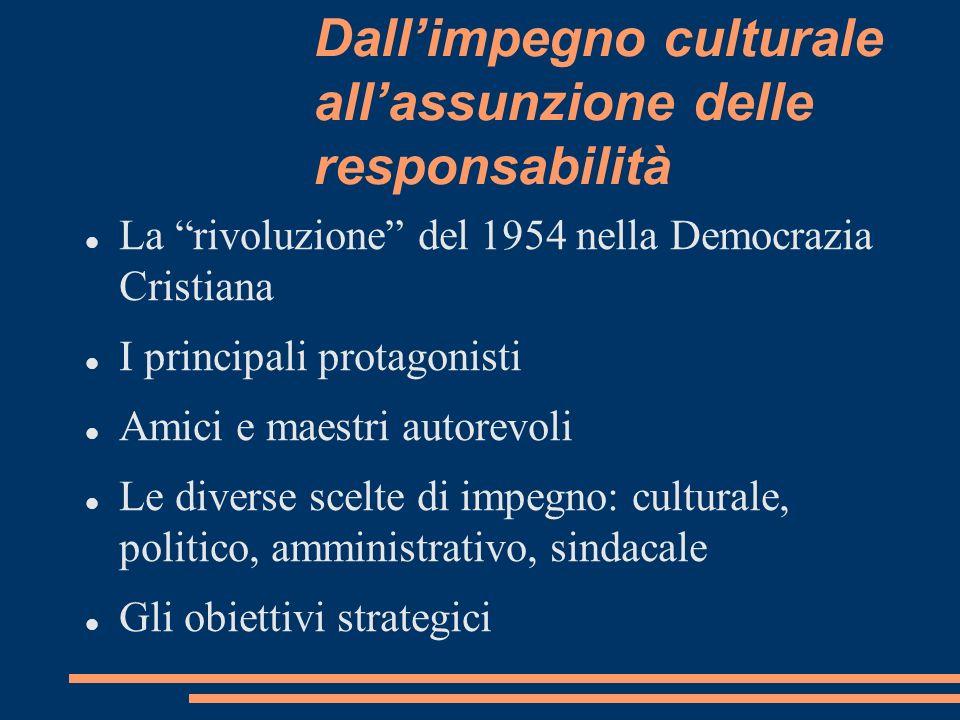 Dallimpegno culturale allassunzione delle responsabilità La rivoluzione del 1954 nella Democrazia Cristiana I principali protagonisti Amici e maestri