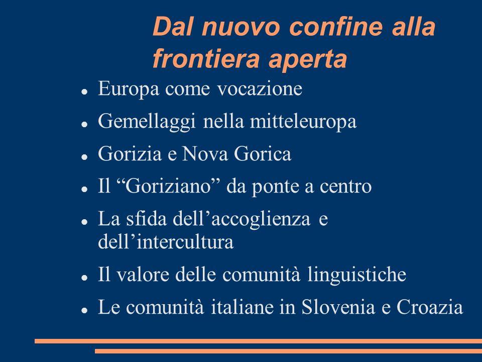 Dal nuovo confine alla frontiera aperta Europa come vocazione Gemellaggi nella mitteleuropa Gorizia e Nova Gorica Il Goriziano da ponte a centro La sf