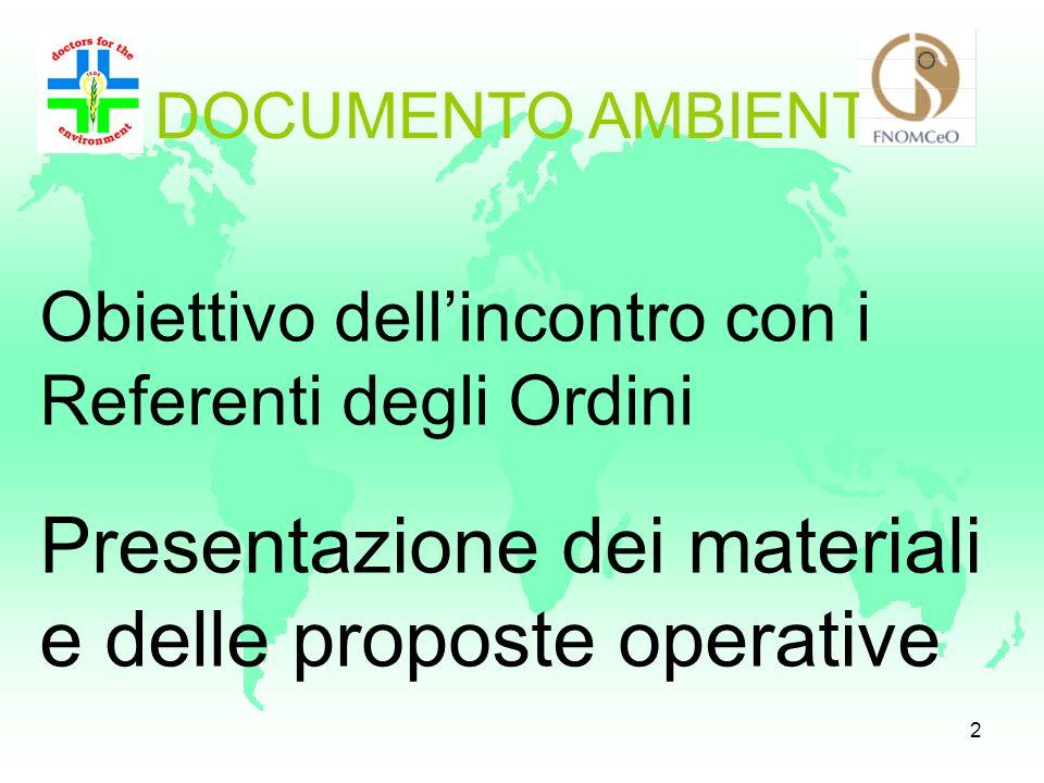 1 RIUNIONE NAZIONALE Referenti del Progetto presso la FNOMCeO Roma il 10 MAGGIO DOCUMENTO AMBIENTE