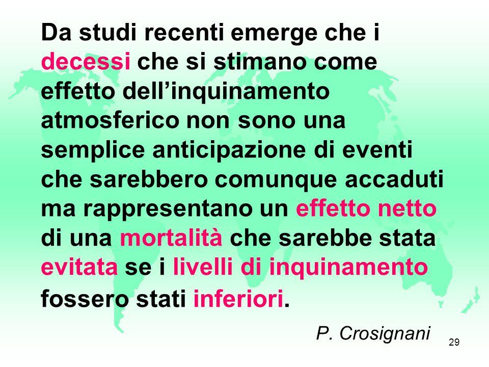 28 L'OMS stima che nelle 13 principali città italiane esaminate nel periodo 2002-2004 (età > 30 anni), il 9% dei decessi per tutte le cause è attribui