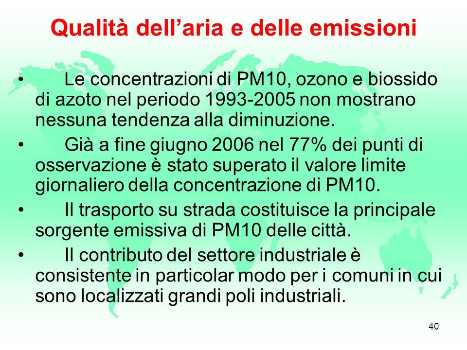 39 Il trasporto motorizzato è una delle fonti più importanti di agenti inquinanti pericolosi quali gli ossidi di azoto, il benzene, lozono e soprattut
