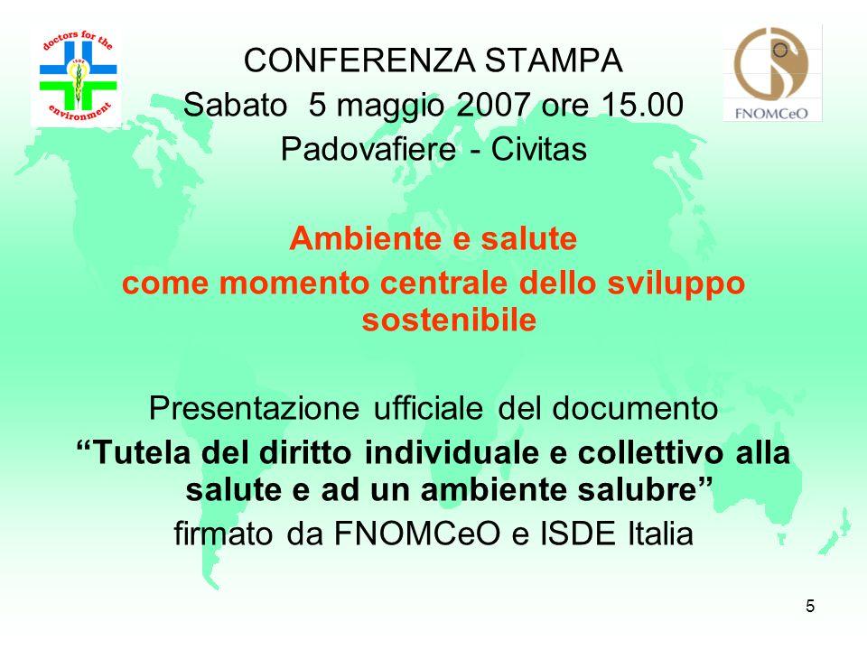 4 Un progetto comune per affermare il ruolo della categoria medica nella tutela e nel controllo dellambiente e dellinquinamento atmosferico per il dir