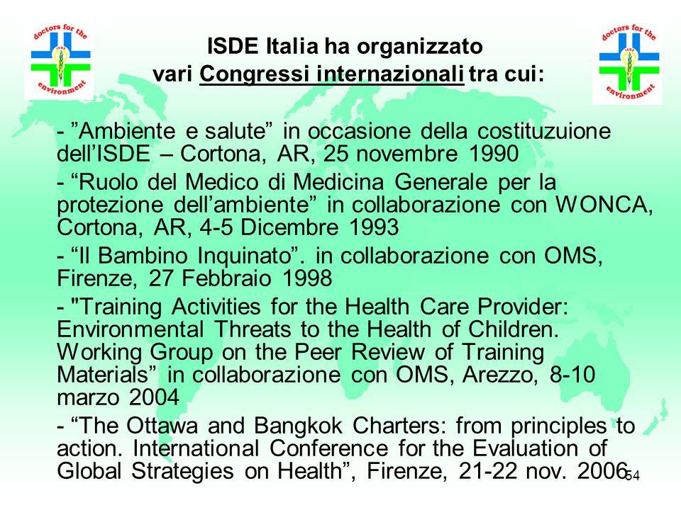 53 Le attività Campagna per il Diritto del Bambino a non essere Inquinato Medici di Medicina Generale e strategie integrate di salute La Scuola per un