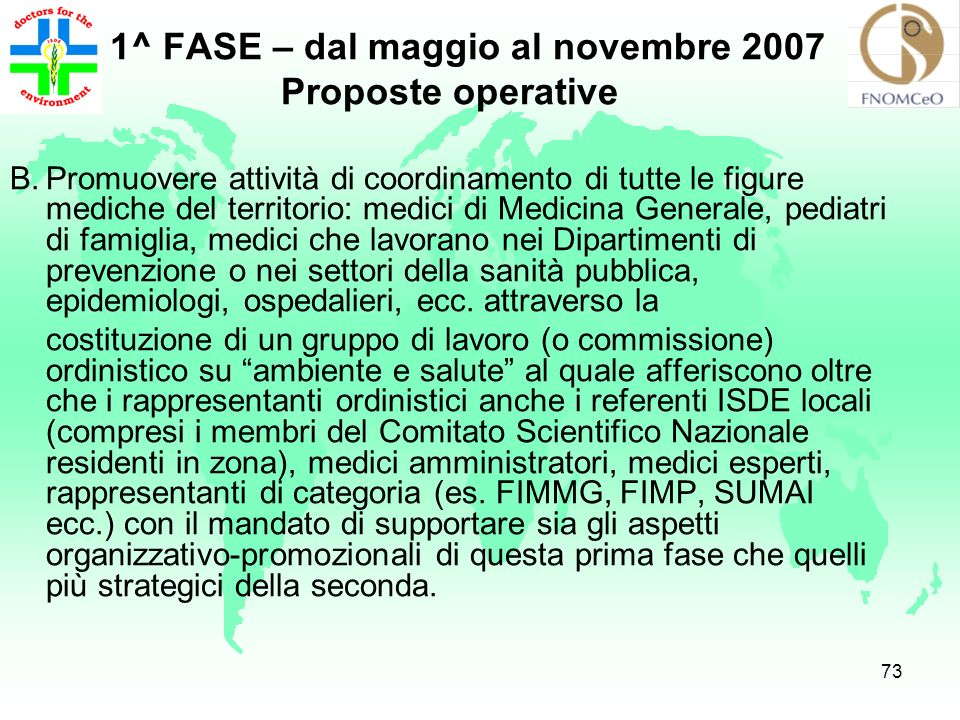 72 1^ FASE – dal maggio al novembre 2007 Proposte operative A.Presentazione del Documento e approvazione da parte dei Consigli Ordinistici.