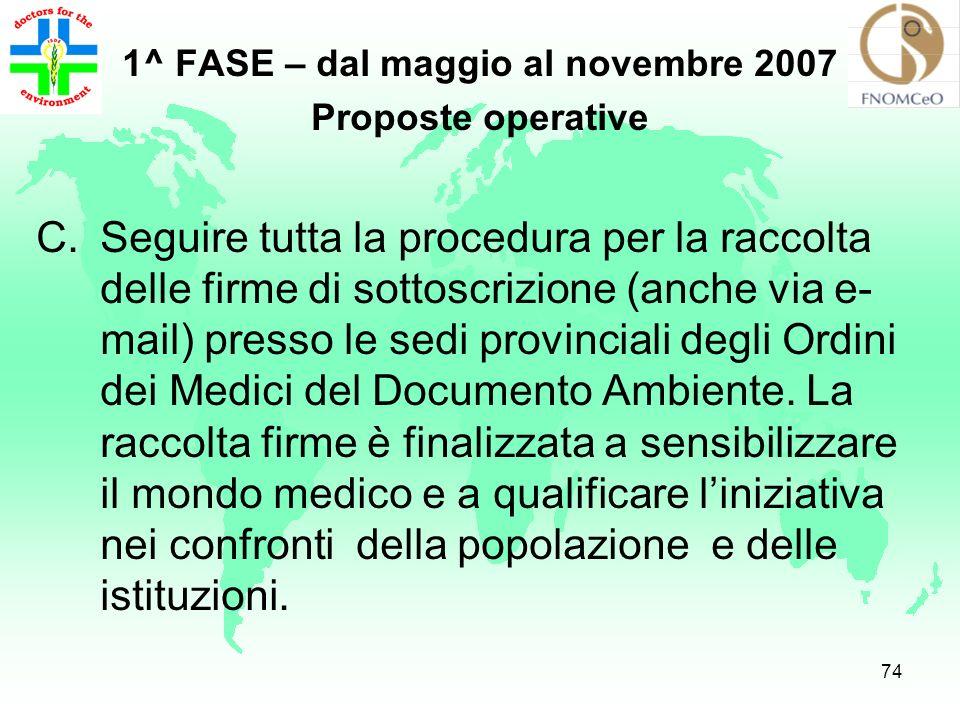 73 1^ FASE – dal maggio al novembre 2007 Proposte operative B.Promuovere attività di coordinamento di tutte le figure mediche del territorio: medici d