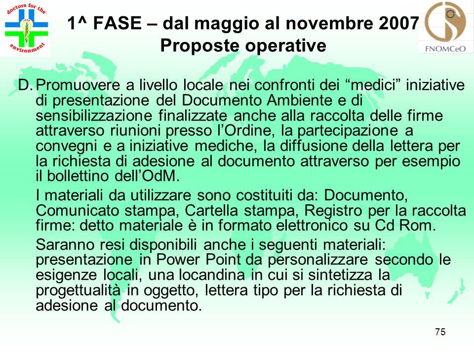 74 1^ FASE – dal maggio al novembre 2007 Proposte operative C.Seguire tutta la procedura per la raccolta delle firme di sottoscrizione (anche via e- m