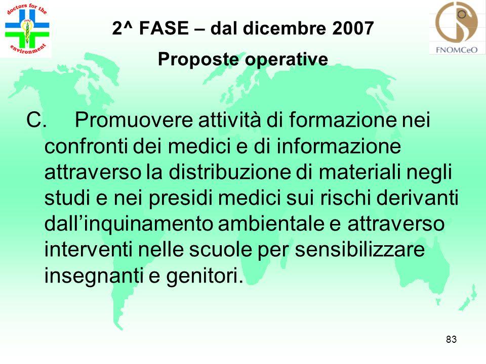 82 2^ FASE – dal dicembre 2007 Proposte operative B.Acquisizione dei dati socio-sanitario- ambientali locali (es. attraverso il Profilo di salute e/o